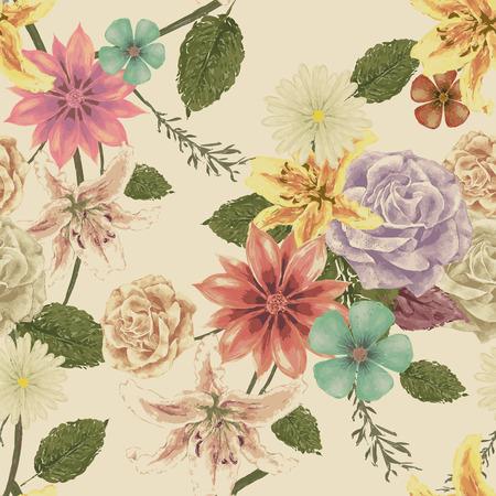 Ilustración de vintage floral seamless background design in watercolor style - Imagen libre de derechos