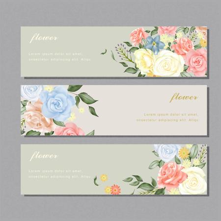 Ilustración de elegant flower banner design with diverse roses - Imagen libre de derechos