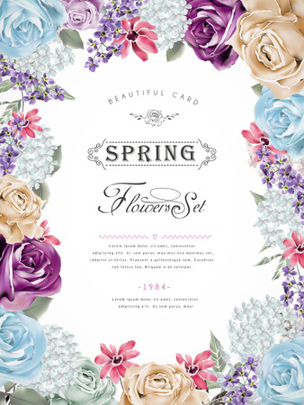 Illustration pour wonderful floral poster design with diverse flowers frame - image libre de droit