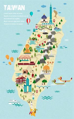 Illustration pour lovely Taiwan travel map in flat design style - image libre de droit