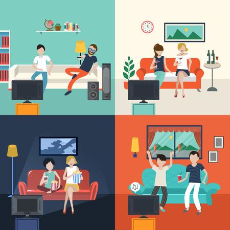 Illustration pour friends watching TV program in the living room in flat design - image libre de droit