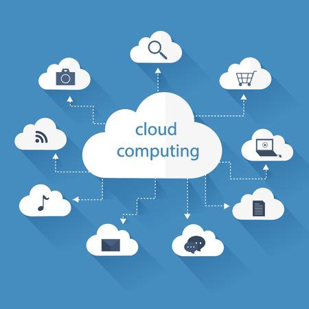Illustration pour cloud computing concept in flat design style - image libre de droit