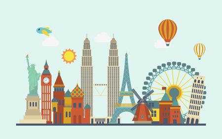 Illustration pour world famous attractions in flat design style - image libre de droit