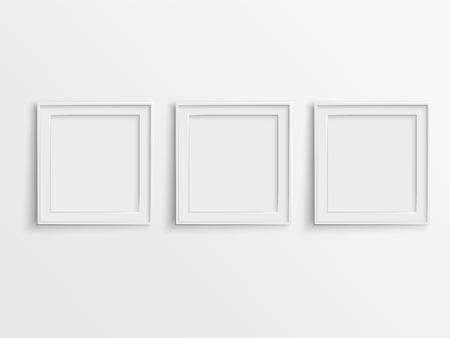 Illustration pour blank photo frames hanging on the wall - image libre de droit