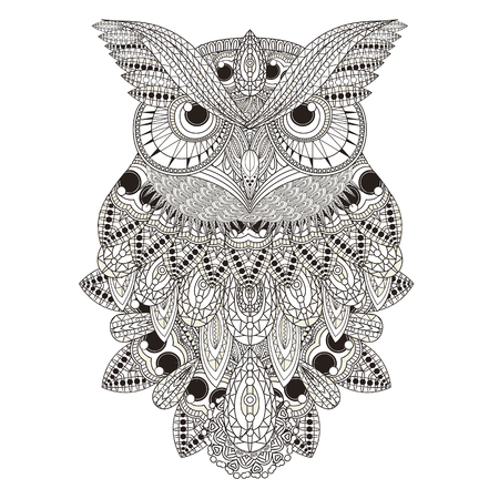 Illustration for sumptuous owl coloring page in exquisite style - Royalty Free Image