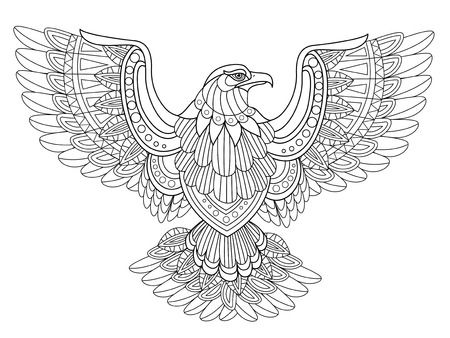 Illustration for flying eagle coloring page in exquisite style - Royalty Free Image