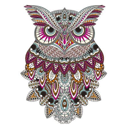 Ilustración de sumptuous owl coloring page in exquisite style - Imagen libre de derechos