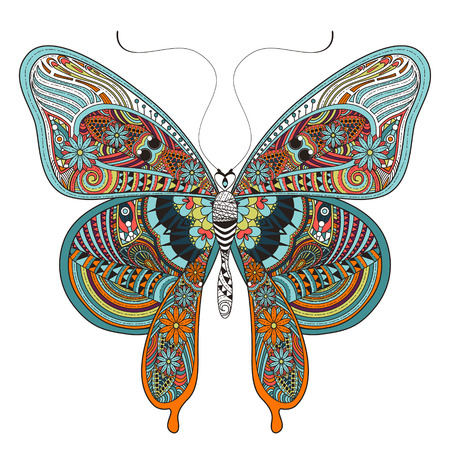 Photo pour gorgeous butterfly coloring page in exquisite style - image libre de droit