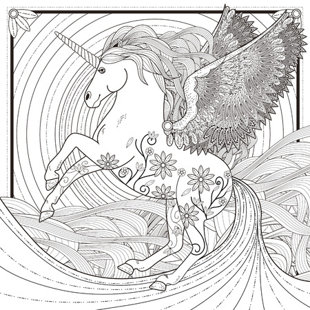 Illustration for fantastic unicorn coloring page in exquisite style - Royalty Free Image