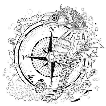 Ilustración de lovely seahorse coloring page in exquisite style - Imagen libre de derechos