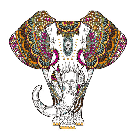 Photo pour graceful elephant coloring page in exquisite style - image libre de droit
