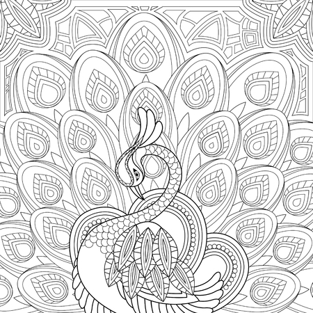 Illustration for elegant peacock coloring page in exquisite style - Royalty Free Image