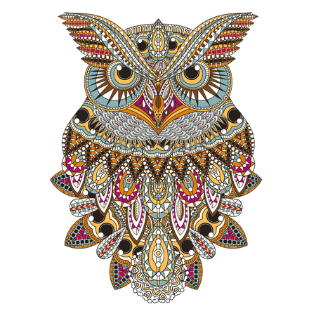 Photo pour sumptuous owl coloring page in exquisite style - image libre de droit