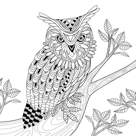 Illustration for wise owl coloring page in exquisite style - Royalty Free Image