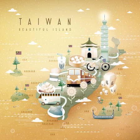 Illustration pour fantastic Taiwan attractions and dishes travel map in 3d isometric style - image libre de droit