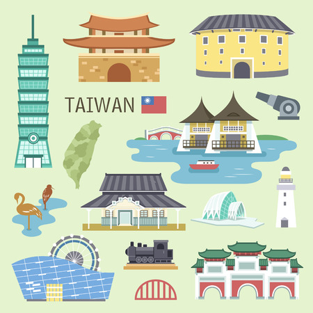 Illustration pour lovely Taiwan attractions collection in flat design - image libre de droit