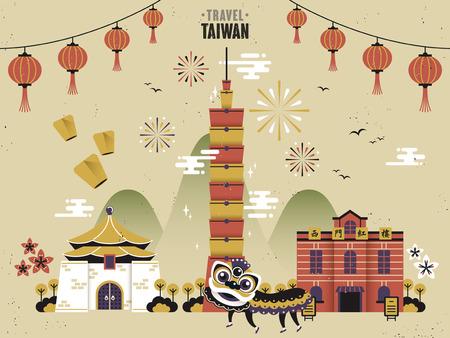 Illustration pour Taiwan cultural travel concept in flat design - image libre de droit