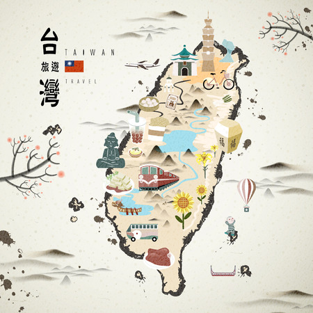 Illustration pour Taiwan famous attractions travel map in ink style - image libre de droit