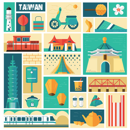 Illustration pour Taiwan travel concept - landmarks and dishes collection in stamp style - image libre de droit
