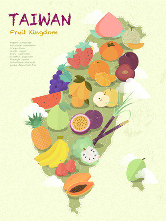 Illustration pour adorable Taiwan fruit kingdom map in flat design - image libre de droit