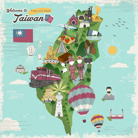 Illustration pour colorful Taiwan attractions and dishes travel map in flat design - image libre de droit