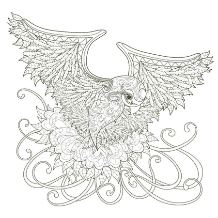 Illustration for elegant flying bird coloring page design in exquisite style - Royalty Free Image
