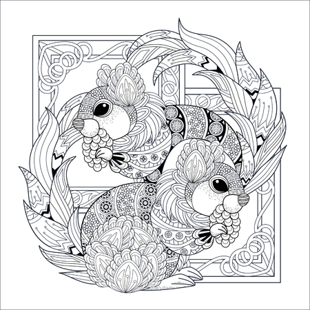 Illustration pour lovely squirrel coloring page in exquisite style - image libre de droit