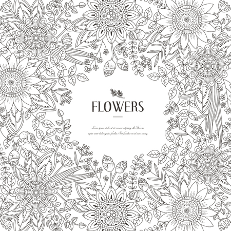 Illustration for splendid flower frame coloring page in exquisite style - Royalty Free Image