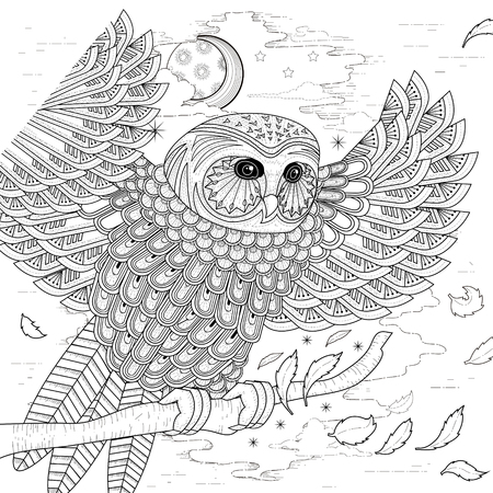 Illustration for lovely owl coloring page design in exquisite style - Royalty Free Image