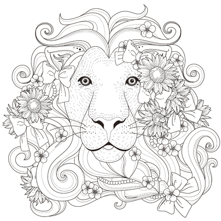 Illustration for lovely lion with flowers coloring page in exquisite style - Royalty Free Image