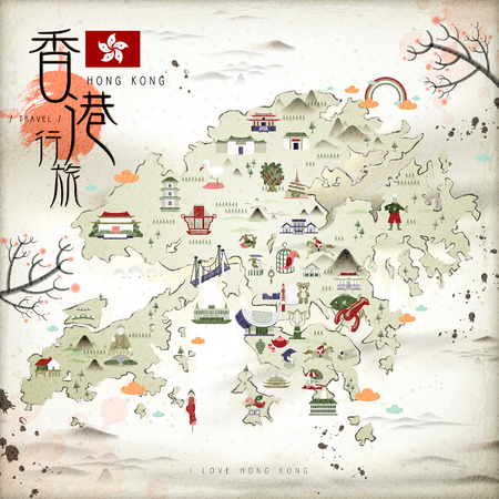 Ilustración de Chinese ink style Hong Kong travel map with attractions icons in flat design - Imagen libre de derechos