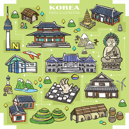 Illustration pour adorable Korea attractions collection in hand drawn style - image libre de droit
