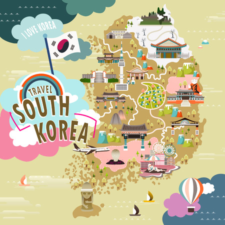 Illustration for lovely South Korea travel map in flat style - Royalty Free Image