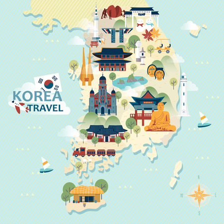 Illustration pour adorable South Korea travel map with colorful attractions - image libre de droit