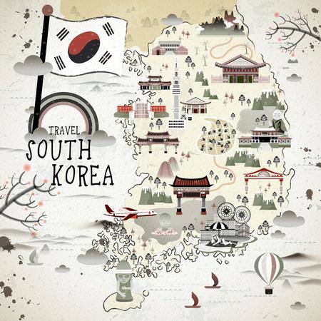Illustration pour retro South Korea travel map in flat style - image libre de droit