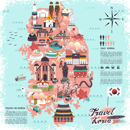 Ilustración de wonderful South Korea travel map with attractions design - Imagen libre de derechos
