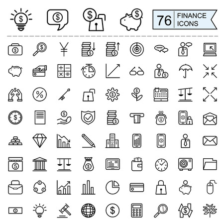 Illustration pour finance icons collection in thin line style over white background - image libre de droit