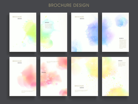 Illustration pour lovely brochure template design set with dreamy watercolor elements - image libre de droit
