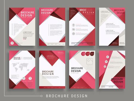 Illustration pour modern brochure template design set with geometric elements in red - image libre de droit