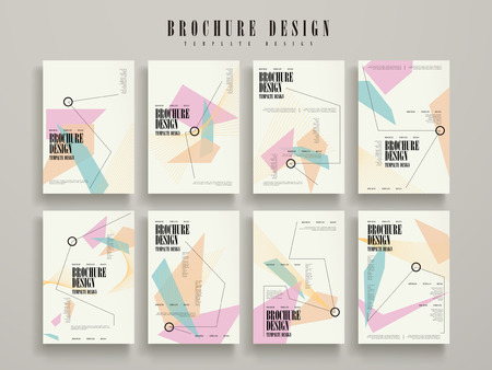 Illustration for attractive brochure template design set with geometric elements - Royalty Free Image