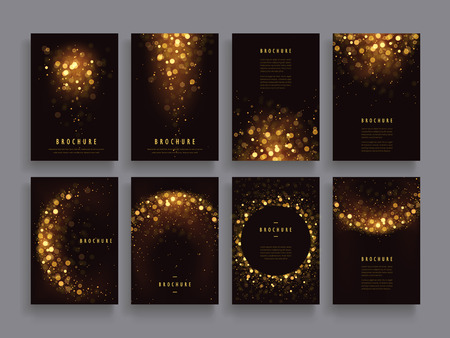 Illustration for gorgeous brochure template design set with glitter paillette elements - Royalty Free Image