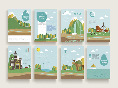 Ilustración de lovely brochure template design set with nature scenery background in flat design - Imagen libre de derechos