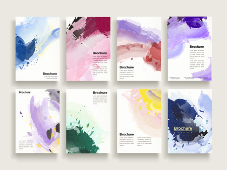 Illustration pour graceful brochure template design set with colorful brush stoke elements - image libre de droit
