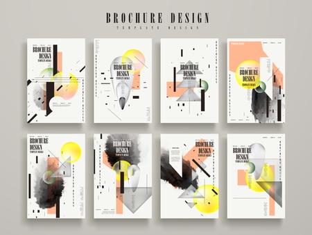 Illustration pour attractive brochure template design set with geometric elements - image libre de droit