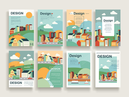 Ilustración de adorable brochure template design set with downtown scenery in flat design - Imagen libre de derechos