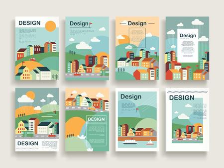 Illustration pour adorable brochure template design set with downtown scenery in flat design - image libre de droit
