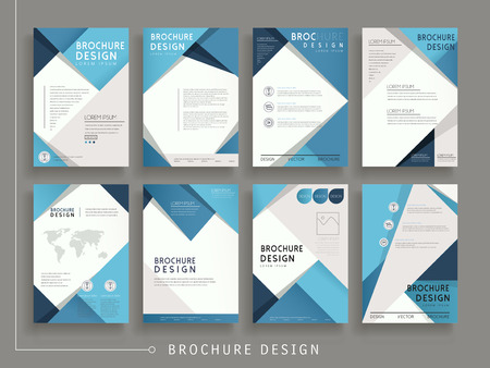 Illustration pour modern brochure template design set with geometric elements in blue - image libre de droit