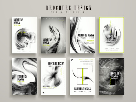 Illustration pour abstract brochure template design set with blurred flow liquid elements - image libre de droit