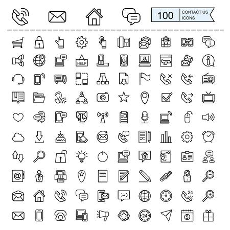Illustration pour contact us icons collections set in thin line style - image libre de droit