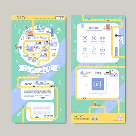 Illustration pour adorable one page web design in flat style - image libre de droit